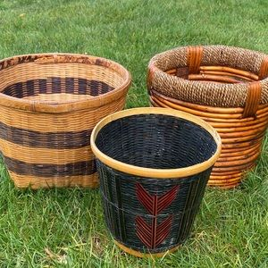 Set of 3 Wicker Boho Plant Tall Baskets Bins